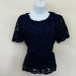 Jenn NWT Blue Textured Blouse Size L P-71
